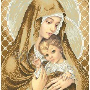 """""""Madonna con Bambino. Marrone""""-02 di Zorina Baldescu. Schema ricamo a perline"""