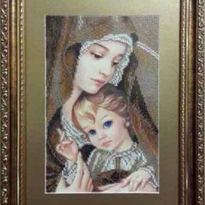 """""""Madonna con Bambino. Marrone"""" di Zorina Baldescu. Schema ricamo a perline"""