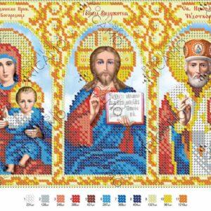 """""""Madonna, Gesù e San Nicola"""". Schema ricamo a perline"""