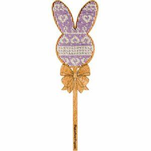 """""""Coniglietto. Ornamento viola"""" con maniglia. Kit ricamo a perline in legno"""