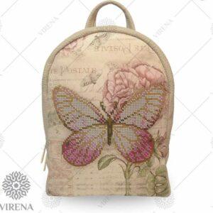 """""""Farfalla"""". Zainetto beige ricamo a perline"""