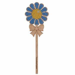 """""""Fiore blu"""" con maniglia. Kit ricamo a perline in legno"""
