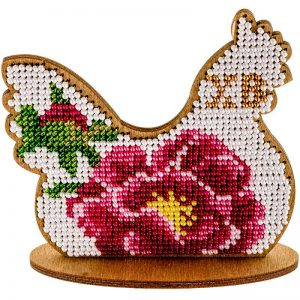 """""""Gallina. Fiore rosa"""". Kit ricamo a perline in legno"""