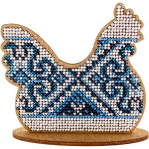 """Gallina. Ornamento blu"". Kit ricamo a perline in legno"