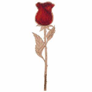 """""""Rosa rossa"""" con maniglia. Kit ricamo a perline in legno"""