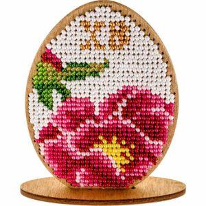 """""""Uovo. Fiore rosa"""". Kit ricamo a perline in legno"""