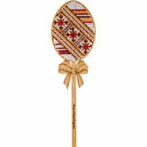 """""""Uovo. Motivi Jacquard"""" con maniglia. Kit ricamo a perline in legno"""