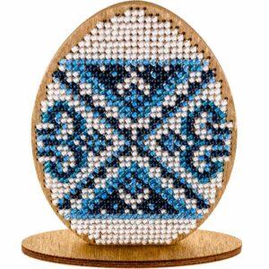 """""""Uovo. Ornamento blu"""". Kit ricamo a perline in legno"""