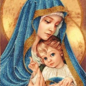 """Madonna con Bambino. Blu"" di Zorina Baldescu. KIT ricamo a perline"