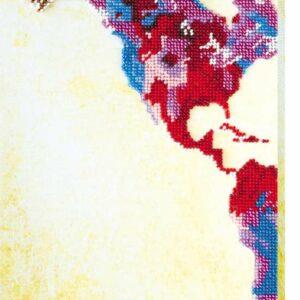 """Pop art. Mappa Mondo""-01. Kit ricamo a perline"