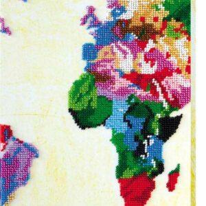 """Pop art. Mappa Mondo""-02. Kit ricamo a perline"