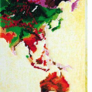 """Pop art. Mappa Mondo""-03. Kit ricamo a perline"