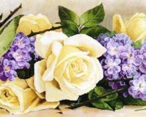 """Rose gialle e viola"" di  Paul de Longpre. Schema ricamo a perline"