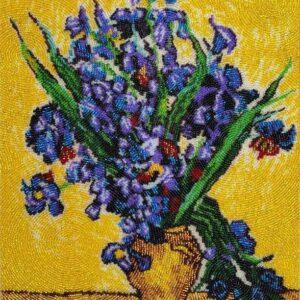 """Vaso con iris"" di Vincent Van Gogh. Kit ricamo a perline"