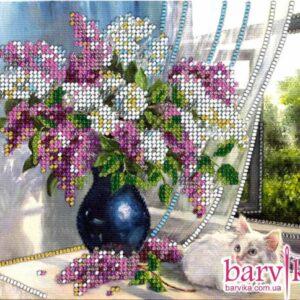 """""""Bouquet di lillà e gatta bianca"""". Kit ricamo a perline"""