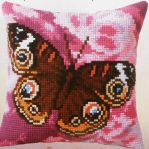 """""""Farfalla L'occhio del pavone"""". Kit-ricamo per cuscino"""