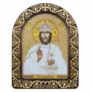 """""""Gesù Cristo in bianco"""". Kit-icona ricamo a perline, con cornice"""