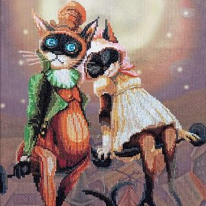 """""""L'appuntamento romantico. Gatti""""-02. Kit ricamo punto croce"""