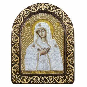 """""""Madonna dell'Umiltà in bianco"""". Kit-icona ricamo a perline, con cornice """"Madonna dell'Umiltà in bianco"""". Kit-icona ricamo a perline, con cornice"""
