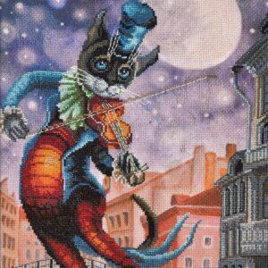 """""""Musica della luna. Gatto"""". Kit ricamo punto croce"""