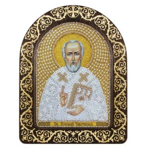 """San Nicola in bianco"". Kit-icona ricamo a perline, con cornice"