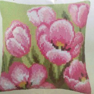 """""""Tulipani di colore rosa"""". Kit-ricamo per cuscino"""