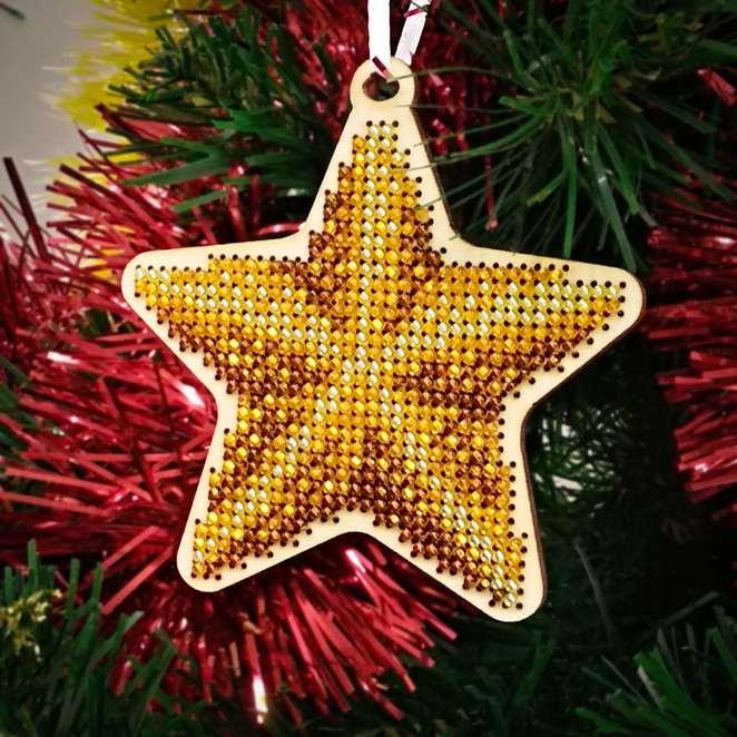 Stella Di Natale Legno.Stella Pallina Di Natale Ricamo A Perline In Legno