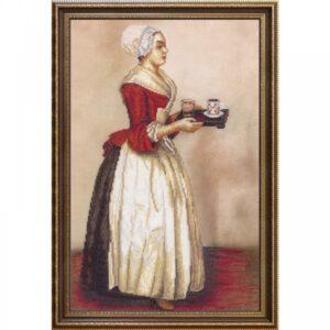 """La Belle Chocolatière"" di Jean-Étienne Liotard. Kit ricamo punto croce"