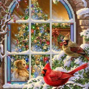"""In attesa di Natale. Uccellini"". Schema ricamo a perline"