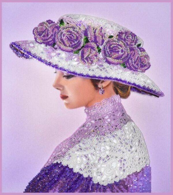 """""""La dama vittoriana in lilla"""". Kit ricamo a perline"""