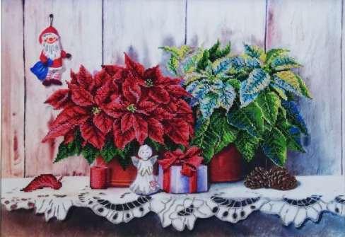 """Le stelle di Natale"". Kit ricamo a perline"