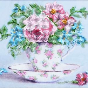 """Piccolo bouquet in stile vintage"". Kit ricamo a perline con base di velours"