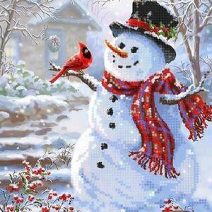 """""""Pupazzo di neve con uccellino"""". Schema ricamo a perline"""
