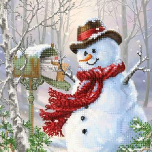 """""""Pupazzo di neve. Postino"""". Schema ricamo a perline"""