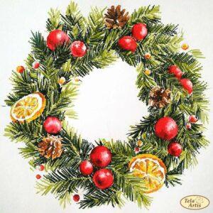 """""""Corona natalizia"""". Schema ricamo a perline"""
