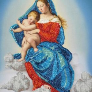 """Madonna con Bambino in gloria"" di Salvi Giovanni Battista. Kit ricamo a perline"