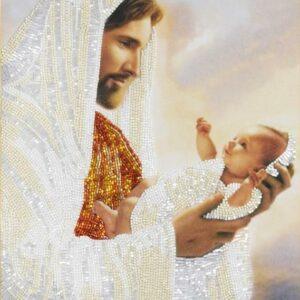 """Gesù con bambino"". Kit ricamo a perline"