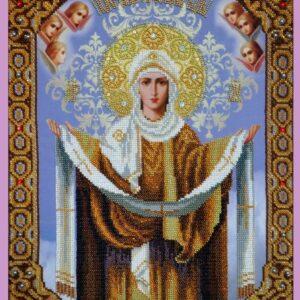 """""""Madonna. Protezione della Madre di Dio"""". Kit-icona ricamo a perline"""