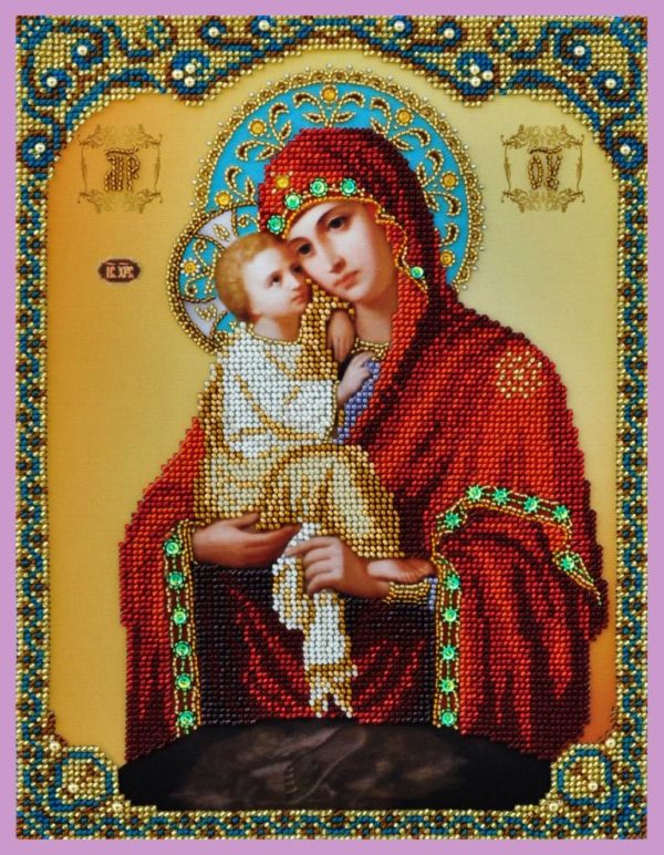 """""""Madre di Dio di Pochayiv"""". Kit-icona ricamo a perline"""
