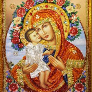 """""""Madre di Dio di Zhirovichi"""". Kit-icona ricamo a perline"""