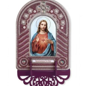 """""""Cuore Immacolato di Gesù"""". Kit-icona con cornice ricamata a perline"""