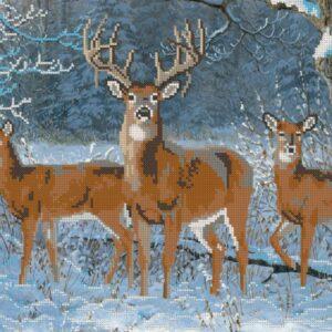 """""""Inverno nella foresta. Cervi"""". Schema ricamo a perline"""