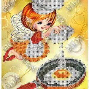 """""""La fata in cucina. Uovo all'occhio di bue"""". Schema ricamo a perline"""