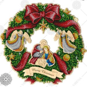 """Corona grande. Merry Christmas"". Corona di legno ricamo a perline"