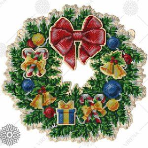 """""""Corona natalizia"""". Corona di legno ricamo a perline"""