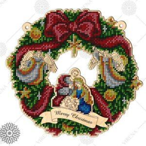 """""""Corona piccola. Merry Christmas"""". Corona di legno ricamo a perline"""