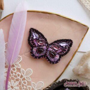 """""""Bellissima farfalla""""- viola. Kit-SPILLA ricamo a perline"""