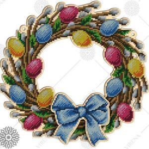 """""""Uova colorate"""". Corona di legno ricamo a perline"""