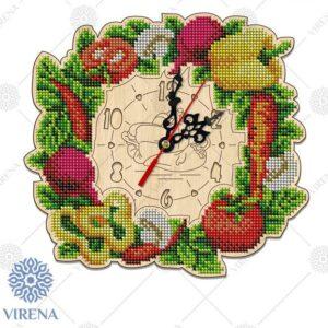 """""""Verdura"""". Kit-orologio di legno ricamo a perline"""