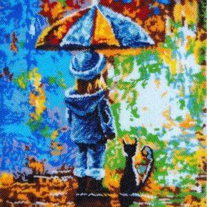 """""""Sotto la pioggia colorata"""". Kit ricamo a perline"""